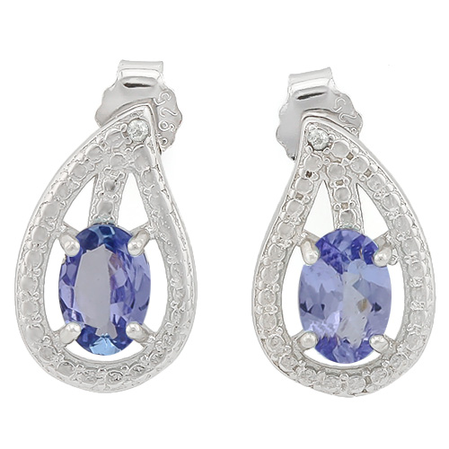 MARVELOUS 0.81 CARAT GENUINE TANZANITE & GENUINE DIAMOND PLATINUM OVER 0.925 STERLING SILVER EARRINGS
