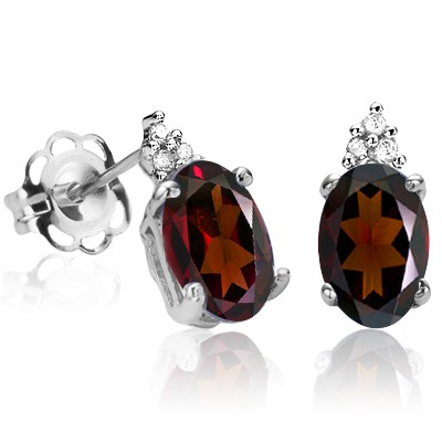 WINE RED GARNET & TRIPLE BRILLIANT GENUINE WHITE DIAMONDS PURE STERLING SILVER EARRINGS