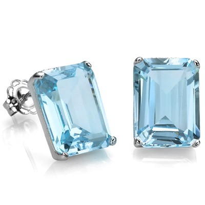DISTINCTIVE 2.45 CT SKY BLUE TOPAZ 0.925 STERLING SILVER W/ PLATINUM EARRINGS