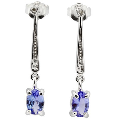 AWESOME 0.82 CT GENUINE TANZANITE &  WHITE DIAMOND 0.925 STERLING SILVER W/ PLATINUM EARRINGS