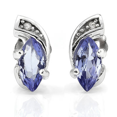 AMAZING 0.39 CARAT TW GENUINE TANZANITE & GENUINE DIAMOND PLATINUM OVER 0.925 STERLING SILVER EARRINGS
