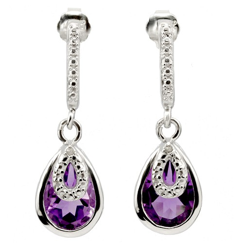 BRILLIANT 3.15 CT AMETHYST WITH DOUBLE DIAMOND 0.925 STERLING SILVER W/ PLATINUM EARRINGS