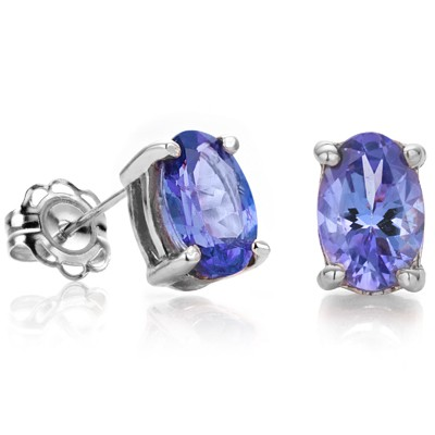 SPECTACULAR (VS1 - CLARITY) 2.59 CT GENUINE TANZANITE 0.925 STERLING SILVER W/ PLATINUM EARRINGS