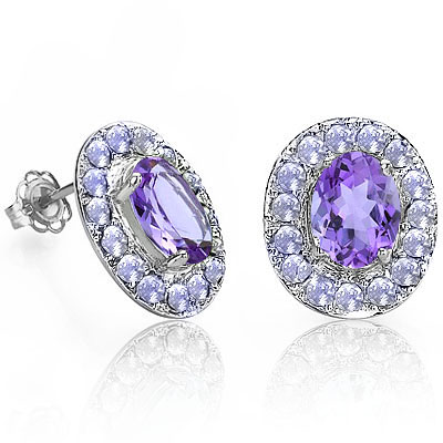 EXCLUSIVE 2.17 CT PURPLE AMETHYST & 32 PCS GENUINE TANZANITE 0.925 STERLING SILVER W/ PLATINUM EARRINGS