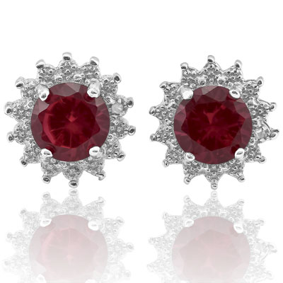 SMASHING 2.00 CT CREATED RUBY WITH DOUBLE GENUINE DIAMONDS PLATINUM OVER 0.925 STERLING SILVER EARRINGS