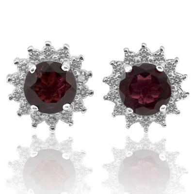 SMASHING 2.11 CARAT TW GARNET & GENUINE DIAMOND PLATINUM OVER 0.925 STERLING SILVER EARRINGS