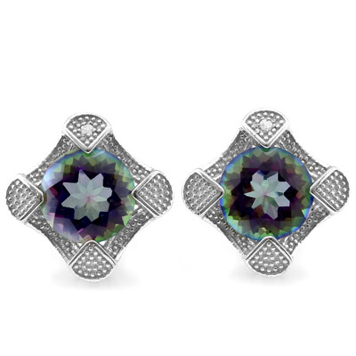 SMASHING 3.83 CARAT TW MYSTIC GEMSTONE & GENUINE DIAMOND PLATINUM OVER 0.925 STERLING SILVER EARRINGS