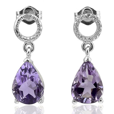 SMASHING 3.30 CARAT AMETHYST WITH DOUBLE GENUINE DIAMONDS PLATINUM OVER 0.925 STERLING SILVER EARRINGS