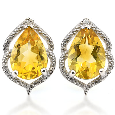 SMASHING 3.2 CARAT CITRINE WITH GENUINE DIAMONDS PLATINUM OVER 0.925 STERLING SILVER EARRINGS