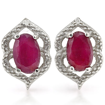 BEAUTIFUL 1.31 CARAT GENUINE RUBY & GENUINE DIAMOND PLATINUM OVER 0.925 STERLING SILVER EARRINGS