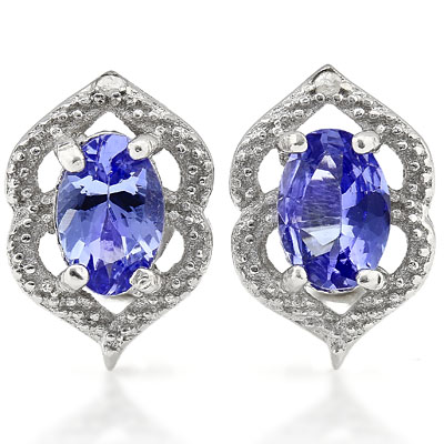 ALLURRING 0.91 CARAT TW GENUINE TANZANITE & GENUINE DIAMOND PLATINUM OVER 0.925 STERLING SILVER EARRINGS