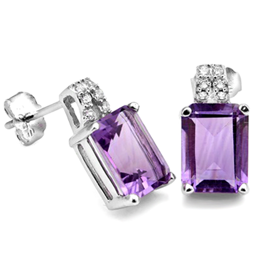 BRILLIANT 3.39 CARAT TW AMETHYST & CUBIC ZIRCONIA PLATINUM OVER 0.925 STERLING SILVER EARRINGS