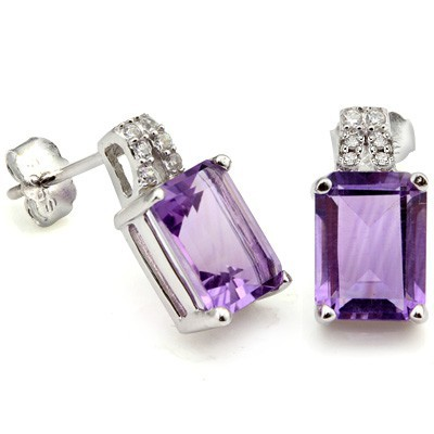 LOVELY 1.45 CT AMETHYST & 12 PCS CREATED WHITE SAPPHIRE 0.925 STERLING SILVER W/ PLATINUM EARRINGS