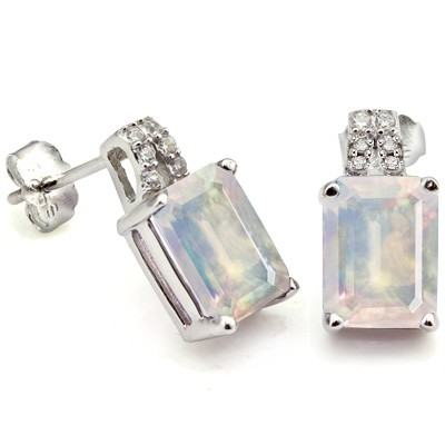 BREATHTAKING 1.45 CT MOONLIGHT OPAL & 12 PCS CREATED WHITE SAPPHIRE 0.925 STERLING SILVER W/ PLATINUM EARRINGS