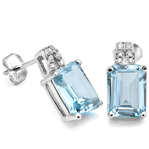ELITE 4.24 CARAT TW BLUE TOPAZ & CUBIC ZIRCONIA PLATINUM OVER 0.925 STERLING SILVER EARRINGS
