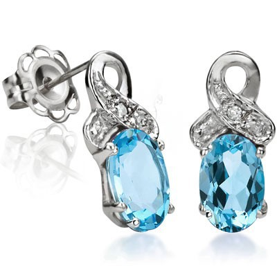 GORGEROUS 1.08 CT BLUE TOPAZ & 2 PCS WHITE DIAMOND 0.925 STERLING SILVER W/ PLATINUM EARRINGS
