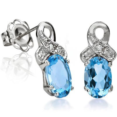 SPARKLING 1.08 CT SWISS TOPAZ DOUBLE WHITE DIAMOND 0.925 STERLING SILVER W/ PLATINUM EARRINGS