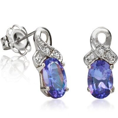 AMAZING 0.85 CT GENUINE TANZANITE DOUBLE WHITE DIAMOND 0.925 STERLING SILVER W/ PLATINUM EARRINGS