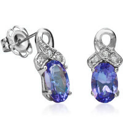 ELITE 0.94 CT GENUINE TANZANITE WITH DOUBLE GENUINE DIAMONDS 0.925 STERLING SILVER W/ PLATINUM EARRINGS