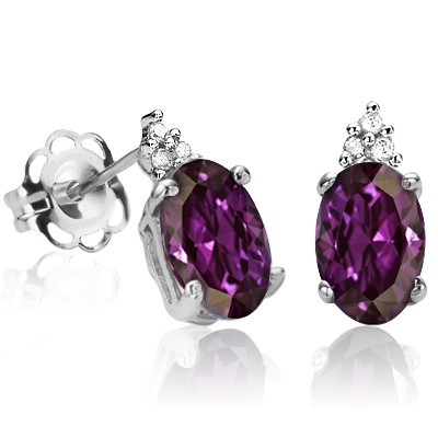 BEAUTIFUL! 1.123 CTW CREATED BYZANTIUM ALEXANDRITE W/ 6 PCS GENUINE WHITE DIAMONDS IN 0.925 STERLING SILVER W/ PLATINUM EARRINGS