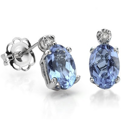 DAZZLING SKY BLUE TOPAZ DOUBLE WHITE DIAMOND 0.925 STERLING SILVER W/ PLATINUM EARRINGS