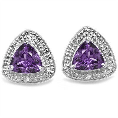 GLAMOROUS 1.33 CT PURPLE AMETHYST DOUBLE WHITE DIAMOND 0.925 STERLING SILVER W/ PLATINUM EARRINGS