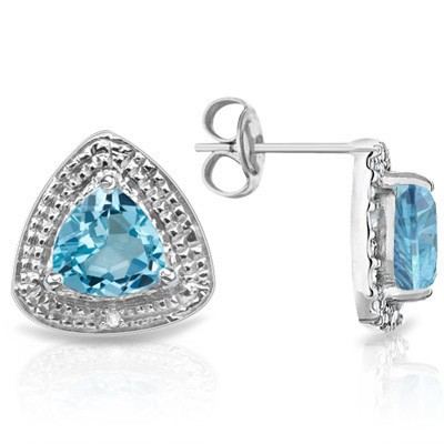 ASTONISHING 1.14 CT BLUE TOPAZ DOUBLE WHITE DIAMOND 0.925 STERLING SILVER W/ PLATINUM EARRINGS