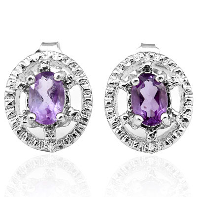 CLASSY 0.812 CARAT AMETHYST & GENUINE DIAMOND PLATINUM OVER 0.925 STERLING SILVER EARRINGS