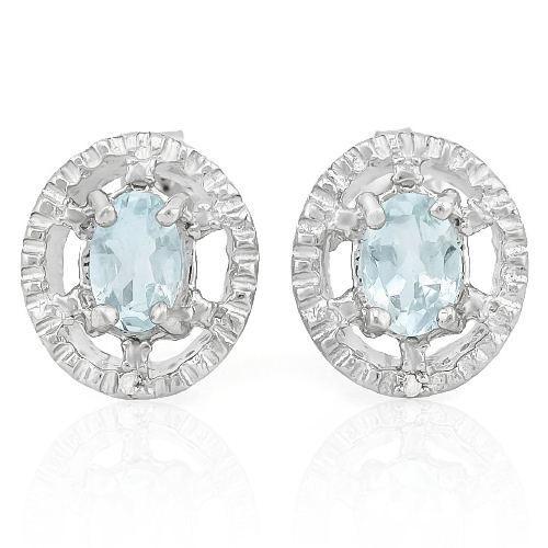 BEAUTIFUL 0.572 CARAT AQUAMARINE & GENUINE DIAMOND PLATINUM OVER 0.925 STERLING SILVER EARRINGS