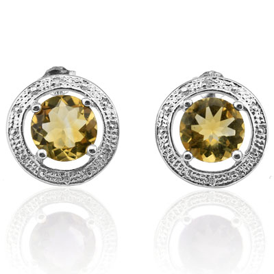 ALLURING 3.31 CARAT TW CITRINE & GENUINE DIAMOND PLATINUM OVER 0.925 STERLING SILVER EARRINGS