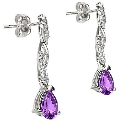 BEAUTIFUL 0.98 CARAT TW AMETHYST & GENUINE DIAMOND PLATINUM OVER 0.925 STERLING SILVER EARRINGS