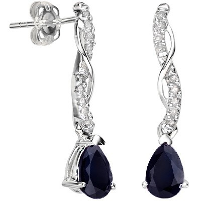 AMAZING FULL CARAT GENUINE SAPPHIRE & DOUBLE WHITE DIAMOND 0.925 STERLING SILVER W/ PLATINUM EARRINGS
