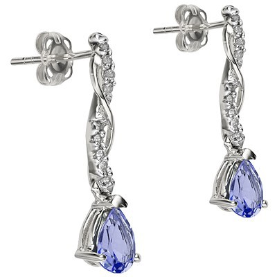 PERFECT 0.72 CT GENUINE TANZANITE & GENUINE DIAMOND PLATINUM OVER 0.925 STERLING SILVER EARRINGS
