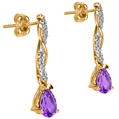 CLASSIC 0.98 CARAT AMETHYST & 18 PCS GENUINE DIAMOND 24K GOLD PLATED SILVER EARRINGS