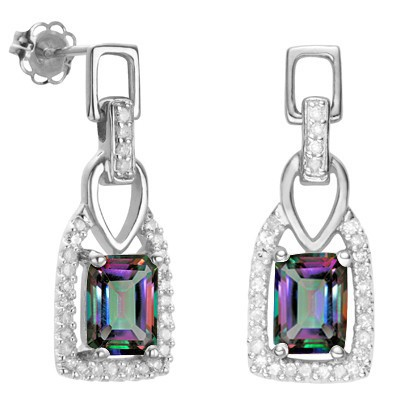 BEAUTIFUL MAGICAL RAINBOW MYSTIC TOPAZ DOUBLE WHITE DIAMOND 0.925 STERLING SILVER W/ PLATINUM EARRINGS
