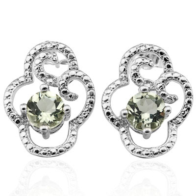 ALLURING 1.528 CARAT GREEN AMETHYST & GENUINE DIAMOND PLATINUM OVER 0.925 STERLING SILVER EARRINGS
