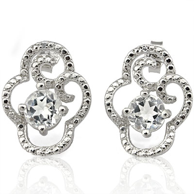 BRILLIANT 1.999 CARAT WHITE TOPAZ & GENUINE DIAMOND PLATINUM OVER 0.925 STERLING SILVER EARRINGS