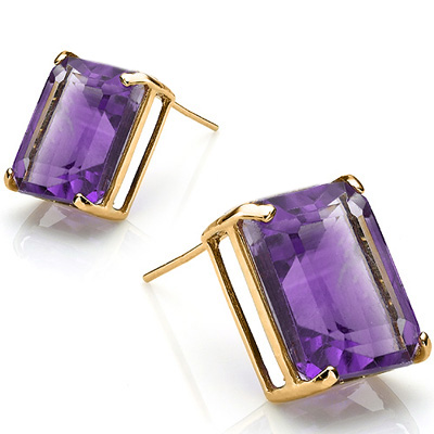 CHARMING 2.3 CARAT TW  AMETHYST IN 24K GOLD PLATED SILVER EARRINGS