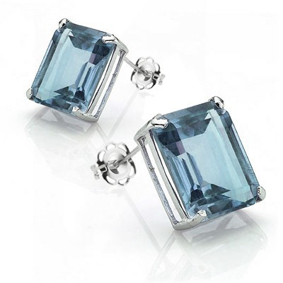HANDSOME & ENTICING! 2.15 CT BLUE TOPAZ 0.925 STERLING SILVER W/ PLATINUM EARRINGS