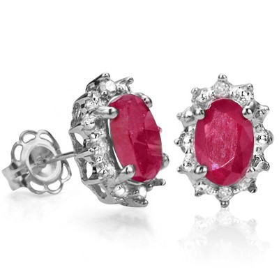 EXCELLENT 1.19 CT GENUINE RUBY DOUBLE WHITE DIAMOND 0.925 STERLING SILVER W/ PLATINUM EARRINGS