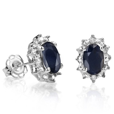 GLITTERING 1.25 CT GENUINE BLACK SAPPHIRE DOUBLE WHITE DIAMOND 0.925 STERLING SILVER W/ PLATINUM EARRINGS