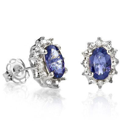Closeout Jewelry! Medium Dark Color (with very slight inclusions) Genuine Tanzanite and Diamond Earrings in .925 Sterling Silver