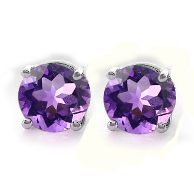 GLAMOROUS BRAZILIAN AMETHYST (VVS) 0.925 STERLING SILVER W/ PLATINUM EARRINGS