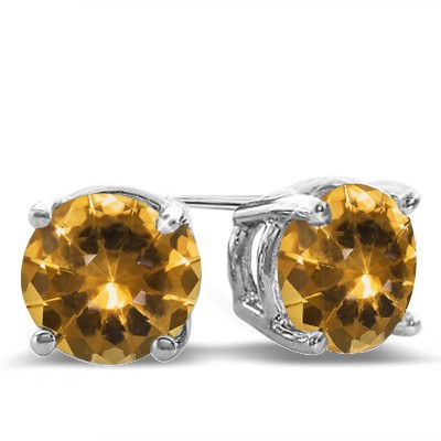 ATTRACTIVE GOLDEN YELLOW CITRINE 0.925 STERLING SILVER W/ PLATINUM EARRINGS