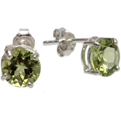 ATTRACTIVE LIME GREEN PERIDOT 0.925 STERLING SILVER W/ PLATINUM EARRINGS