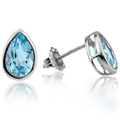 CAPTIVATING SKY BLUE TOPAZ DOUBLE WHITE DIAMOND 0.925 STERLING SILVER W/ PLATINUM EARRINGS