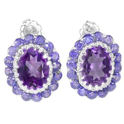 MARVELOUS 3.28 CARAT AMETHYST & GENUINE TANZANITE PLATINUM OVER 0.925 STERLING SILVER EARRINGS