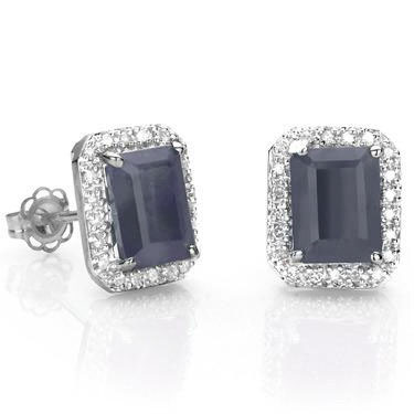 GORGEOUS 2.5 CT BLACK SAPPHIRE & GENUINE WHITE DIAMOND 0.925 STERLING SILVER W/ PLATINUM EARRINGS