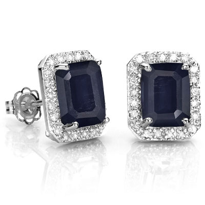 CLASSIC 3.50 CT GENUINE BLACK SAPPHIRE WITH DOUBLE DIAMONDS 0.925 STERLING SILVER W/ PLATINUM EARRINGS