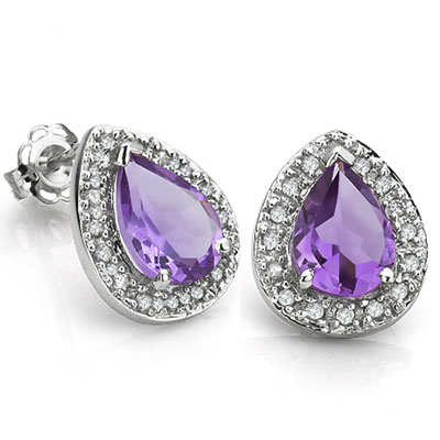 MARVELOUS 0.85 CARAT AMETHYST & DOUBLE GENUINE DIAMONDS PLATINUM OVER 0.925 STERLING SILVER EARRINGS